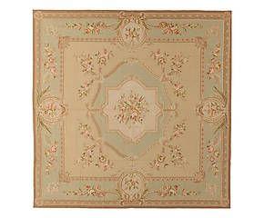 Tappeto Aubusson in lana a mezzo punto Rose 244x244 cm