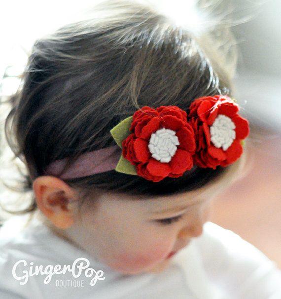 Red Frilly Poppy Felt Headband 100 Handmade by GingerpopBoutique, $12.00