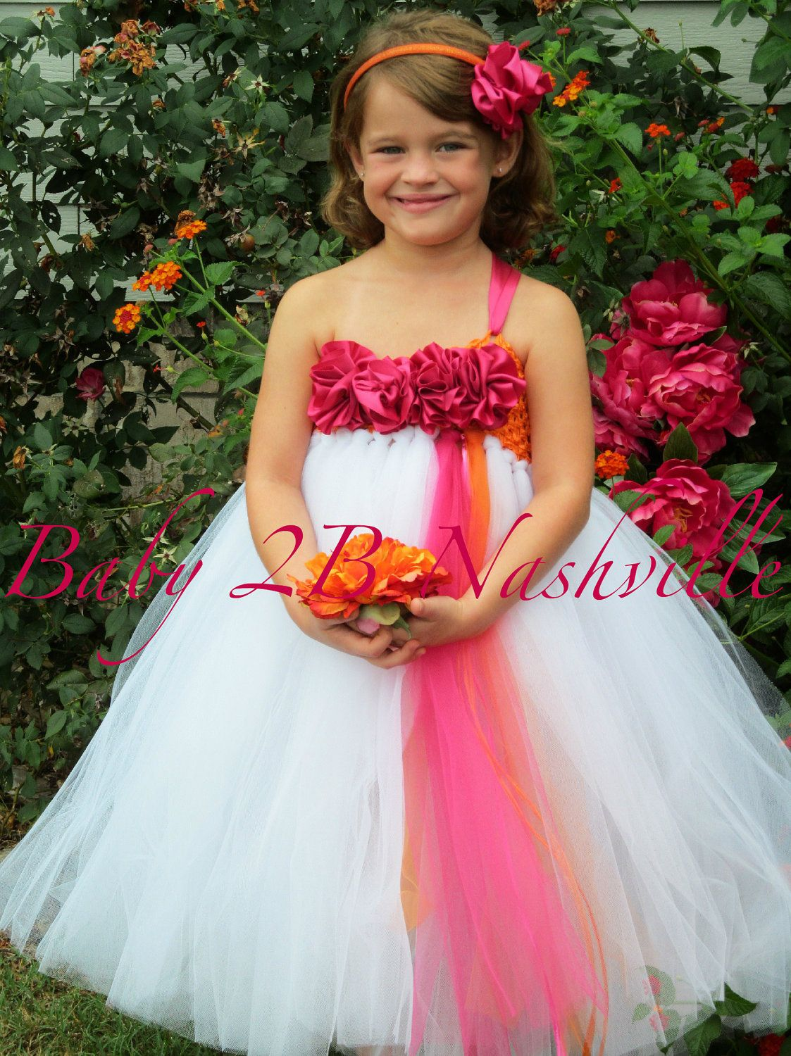 Flower Girl Dress In White And Hot Pink Baby To 2t 7600 Via Etsy