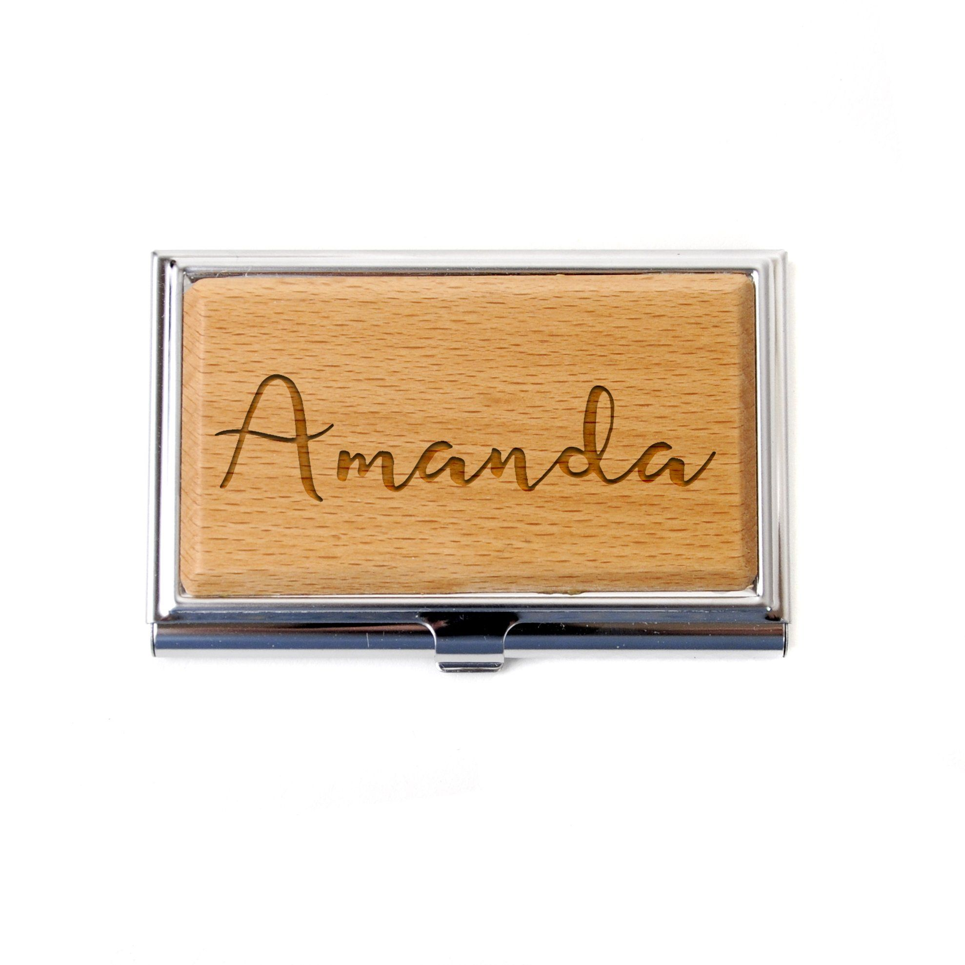 Personalized Business Card Holder - Personalized Bamboo Wood ...