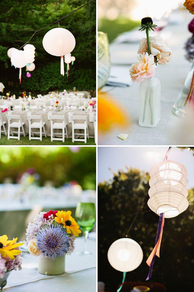 Idee deco pour un mariage garden party : lanternes en papier, rubans ...