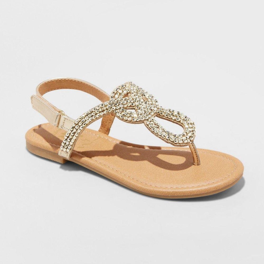 bd34ef4c6d63 Girls  Flowers by Nina Tola Embellished Thong Sandals - Gold 5 ...