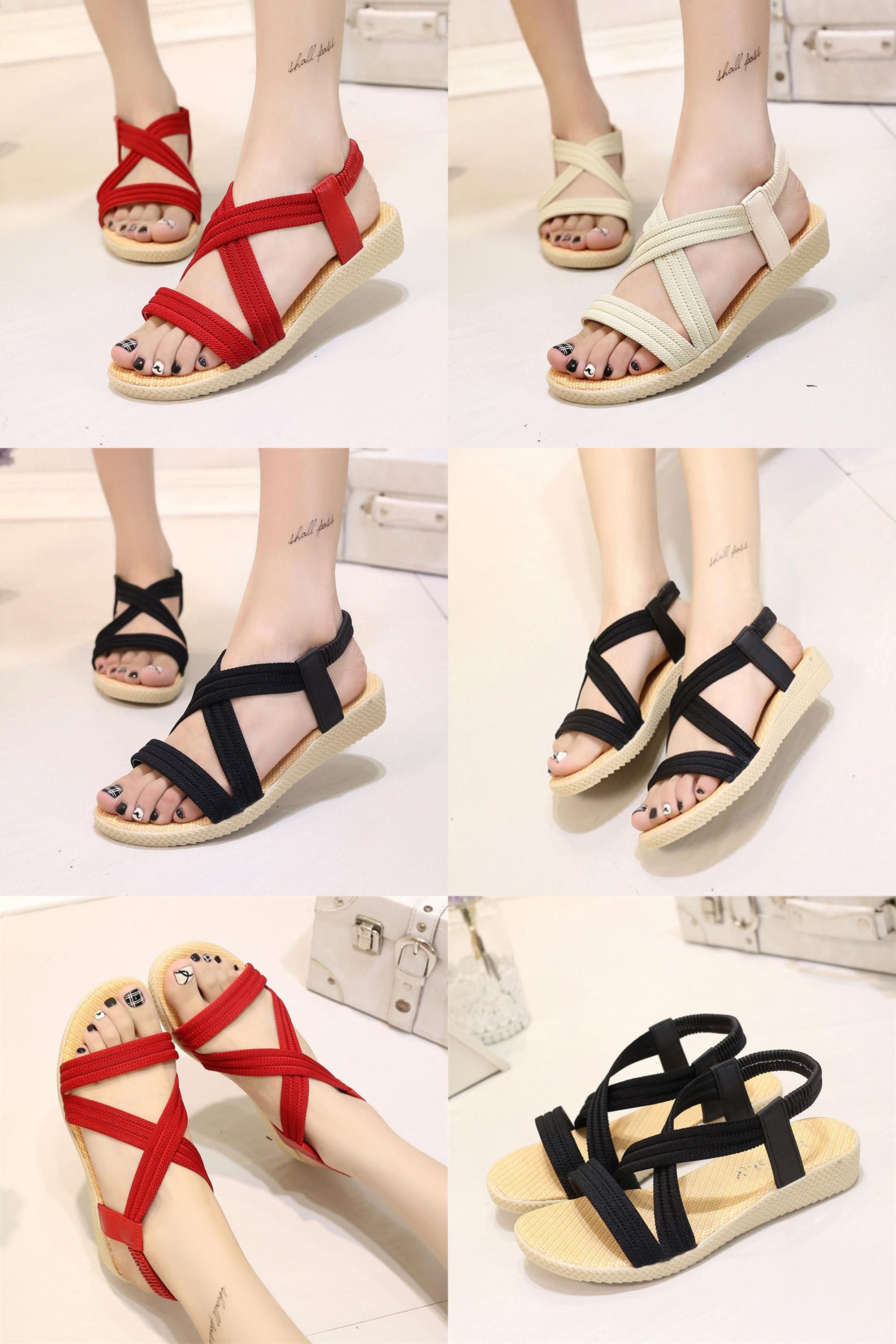 fdbbda034608a [Visit to Buy] Shoes Woman Sandals Zapatos Mujer Girls Sweet Flat Ladies  Shoe Summer Bohemia Beach Casual Sapatos Leisure Simple Sandal 2017New # ...