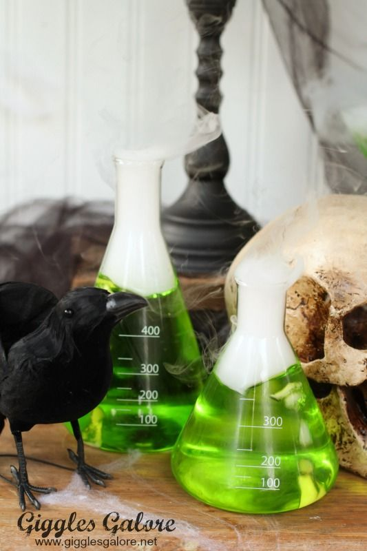 Mad Scientist Halloween Party Ideas via Giggles Galore - mad scientist halloween decorations