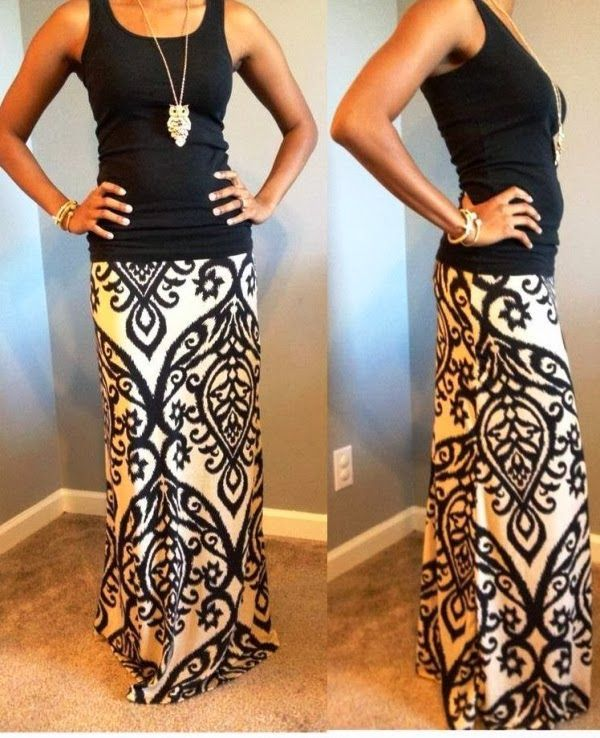 Candle light maxi dress and black top | FASHION WINDOW | See more about maxi dresses, maxi skirts and black tank.