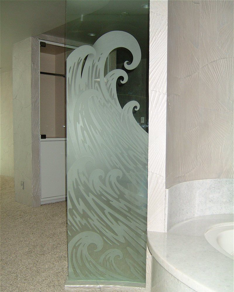 Decorative Glass Bath Partition, Etched And Carved In Ocean Wave Design.  Sans Soucie Art Glass Creates A Number Of Etched Glass Products For The  Bathroom ...