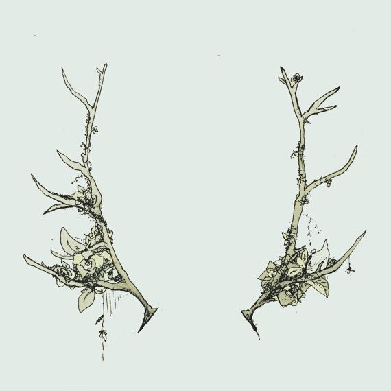 Floral Antler Tattoo: Antlers And Flowers Print Of Original Illustration By