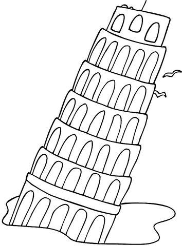 La Torre Inclinada de Pisa Dibujo para colorear. Categorías: Italia ...