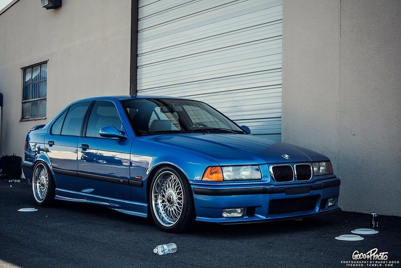 OEMish Estoril blue BMW e36 sedan on OEM BMW Styling 5 (BBS RC) wheels