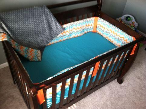 Chevron crib set boy orange blue grey