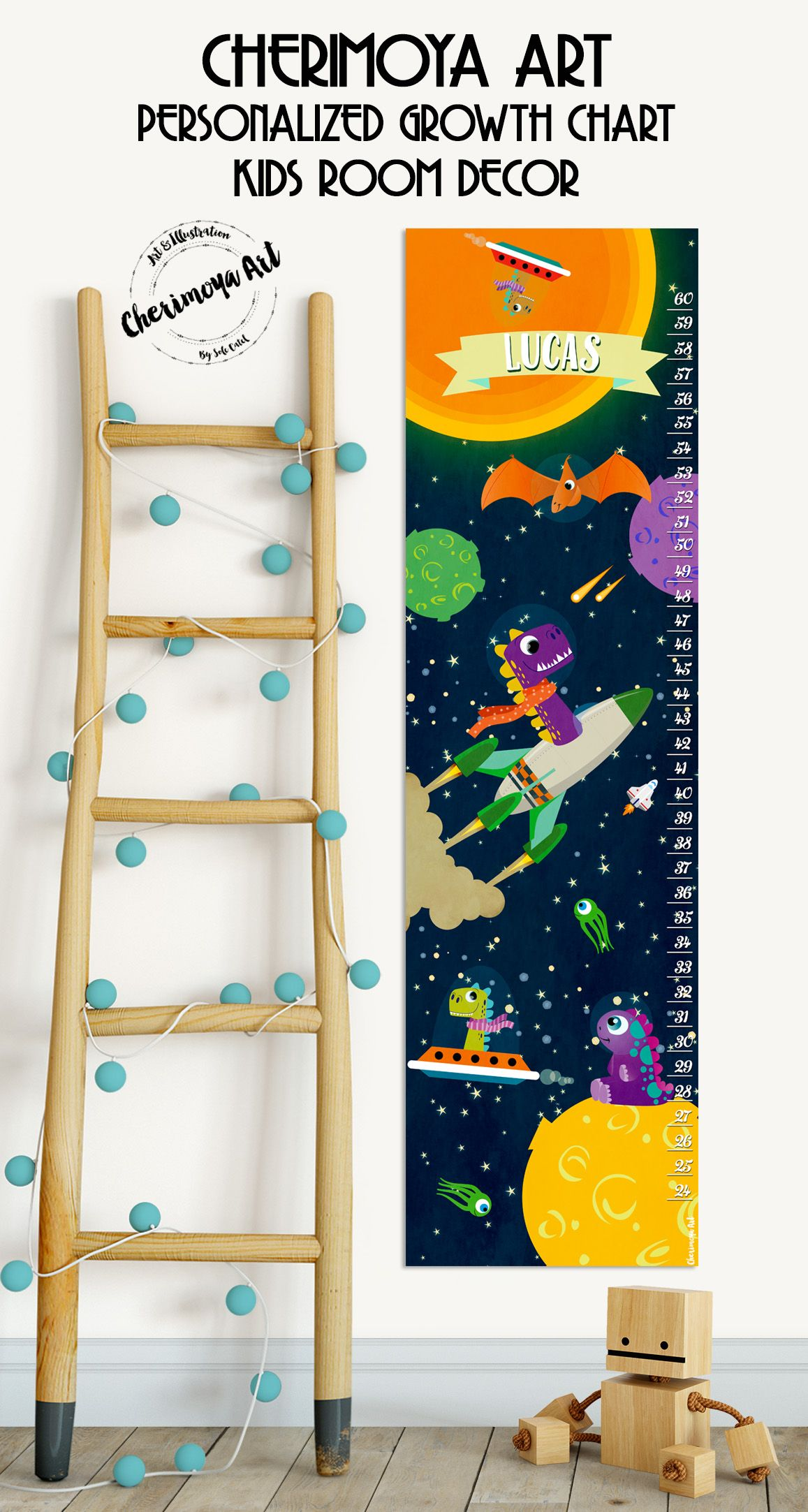 Personalized Dinosaurs Growth Chart Wall Decal Kids Height Chart