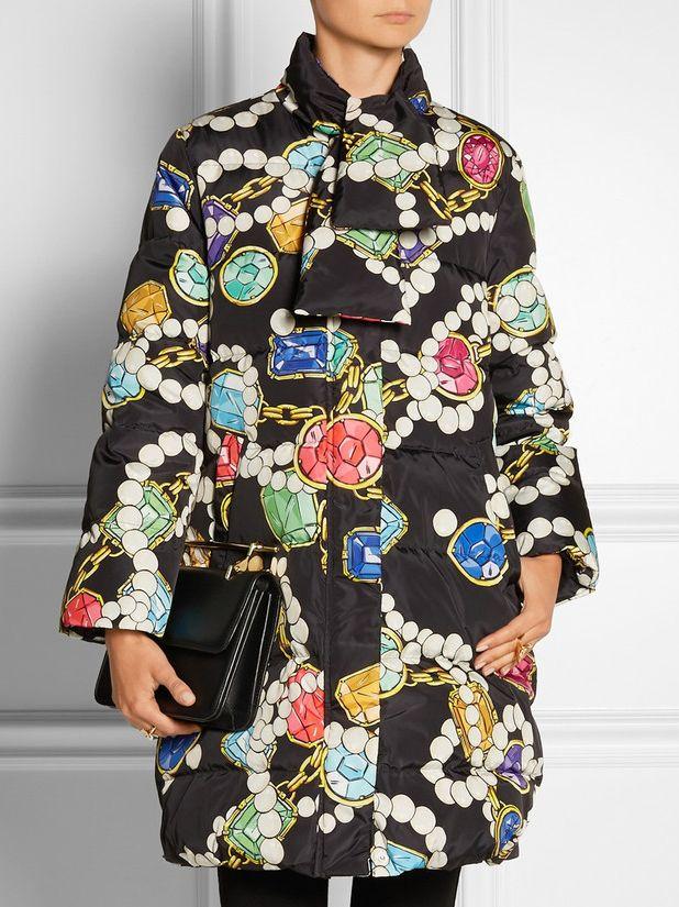 Black Lapel Long Sleeve Print Pockets Coat