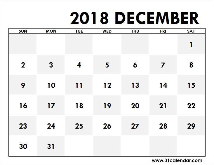 December 2018 Calendar Large Editable 31 calendar Pinterest