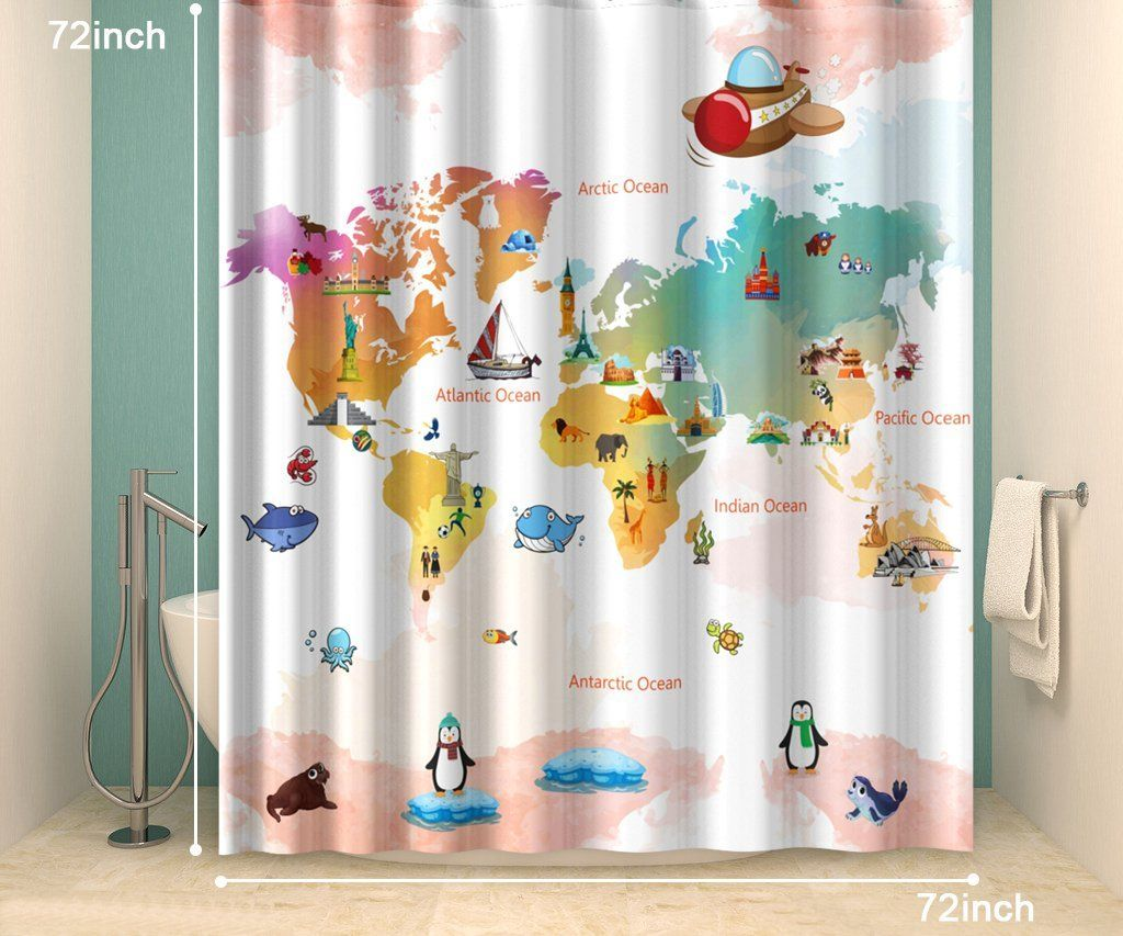 72 X Inches Shower Curtain100 PolyesterGenuine And Eco Friendly World Map CurtainGlobal Curtain Machine Washable