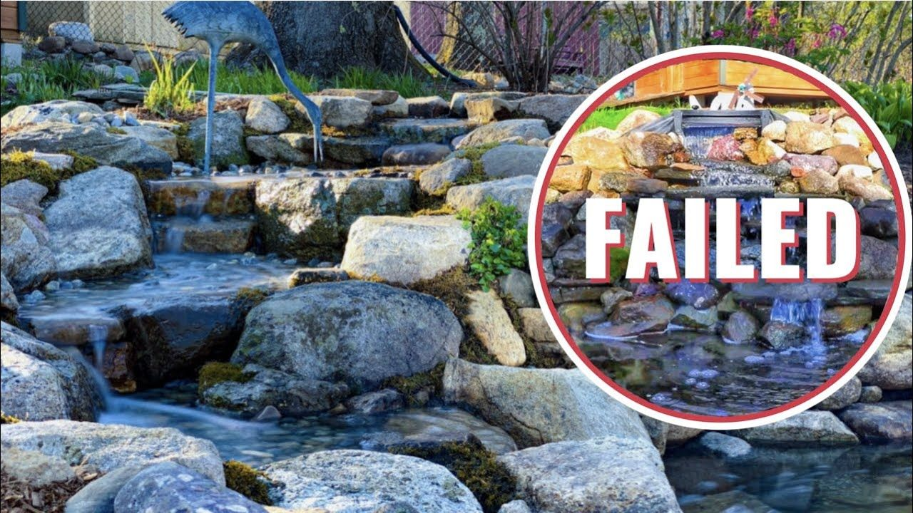WATERFALL FAILURE | How to build a pond stream and ...