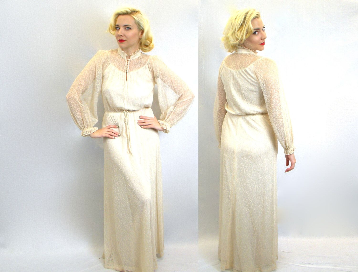 S wedding dress ivory lace long sleeve maxi dress bohemian