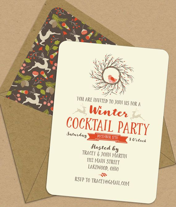 Winter Cocktail Party Ideas Part - 33: Winter Cocktail Party Invitations