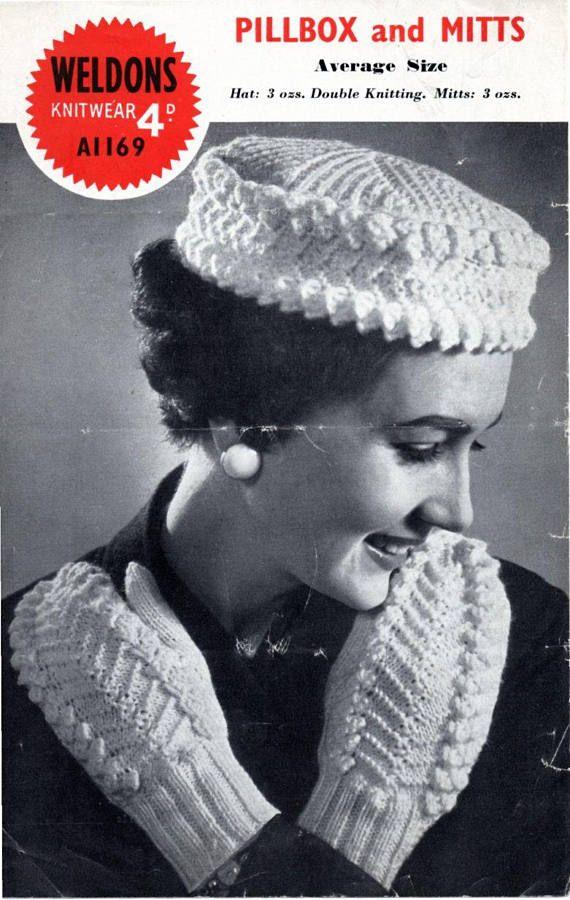 Vintage 1950s Knitting Pattern Pillbox Hat Mitts Vintage Knit