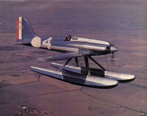 "gruene-teufel: "" british-eevee: ""  Supermarine S6B seaplane in flight (Date and location unknown) "" Reminds me of a lawn dart "" One of the many legacies of the unfortunately defunct Schneider Trophy."