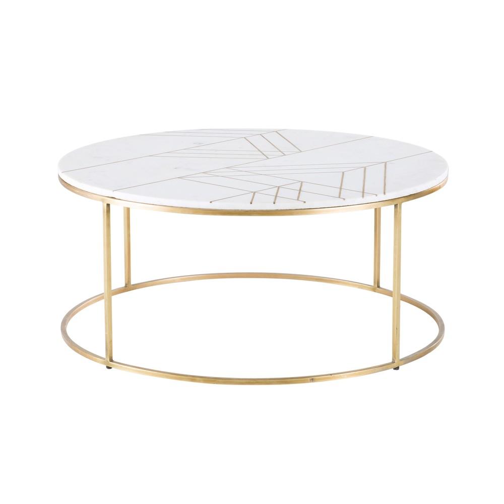 Table Basse Ronde En Marbre Blanc Et Fer Doré Pour Michael