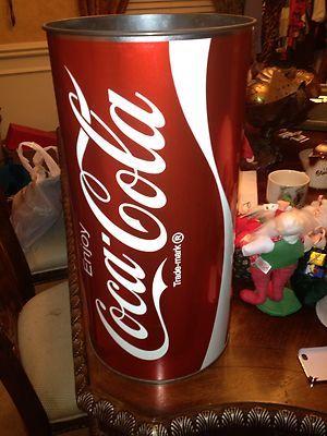 Vintage Coca Cola Large 19 Metal Trash Can Umbrella Stand Rare Coke