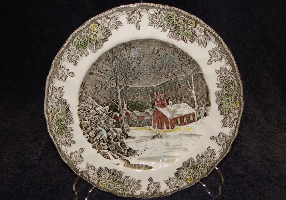 "$11.99 Johnson Bros Friendly Village School House 10"" Dinner Plate - Excellent! #JohnsonBros"