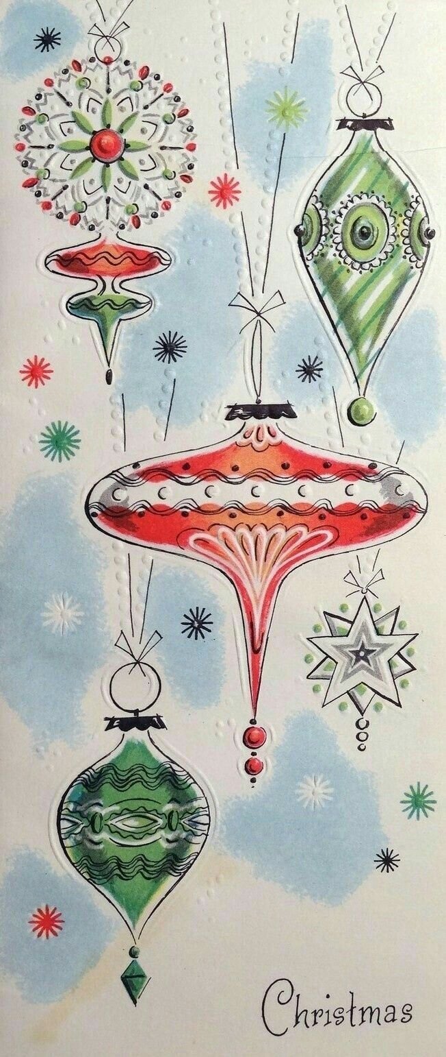 Christmas Ornaments Painted Rock Idea Vintage Christmas Cards Retro Christmas Cards Vintage Holiday Cards