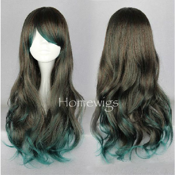 60cm-Long-Color-Mixed-Beautiful-lolita-wig-Anime-Wig gray Green... ($20) ❤ liked on Polyvore featuring hair