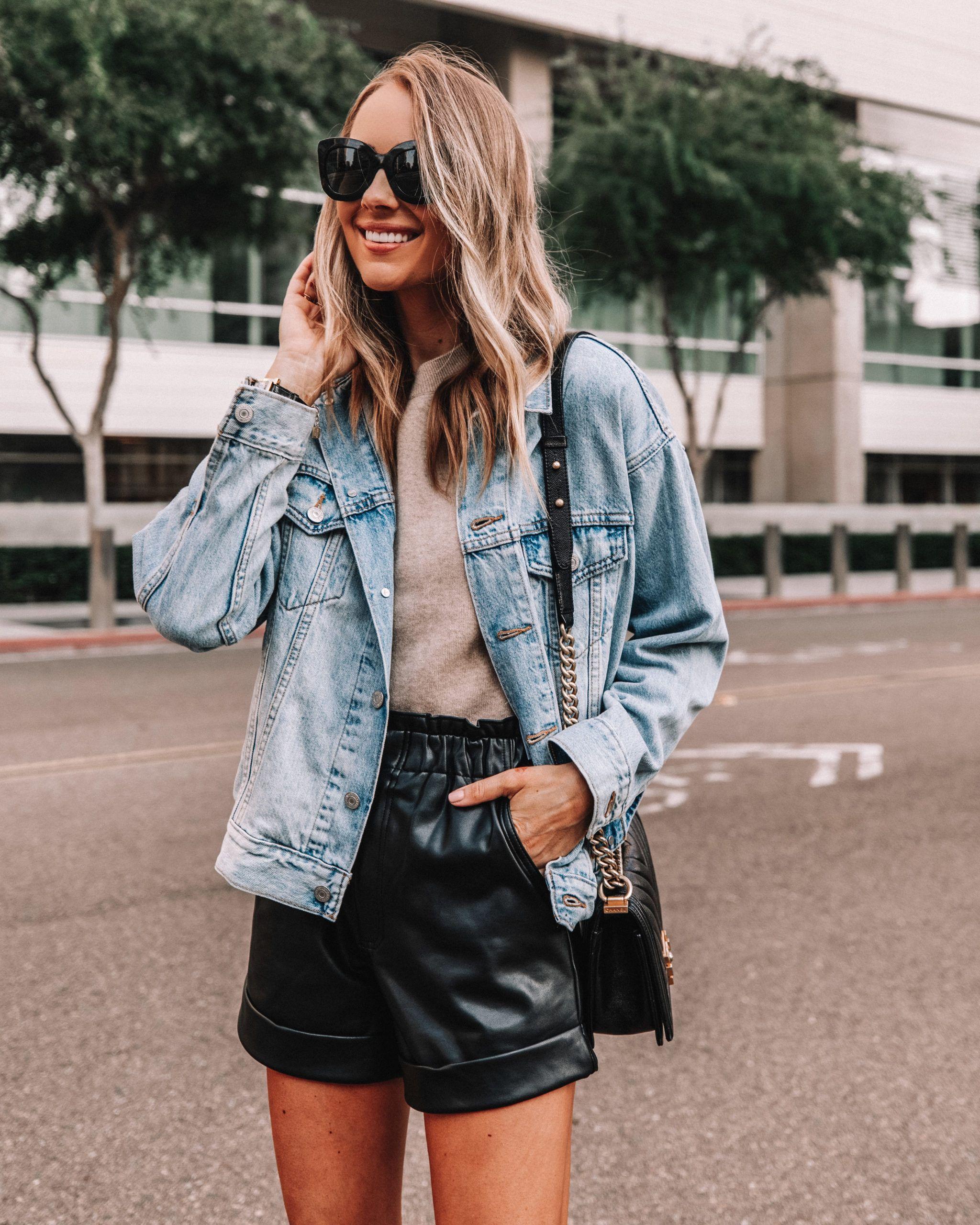 Fashion Jackson Wearing Levis Oversized Denim Jacket Faux Leather Shorts Fall Outfit Leather Shorts Outfit Fashion Jackson Leather Shorts [ 2560 x 2048 Pixel ]
