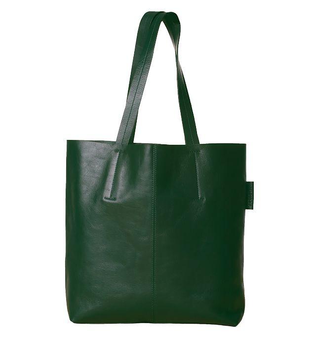 Miniä 2 tote in green leather, Marimekko