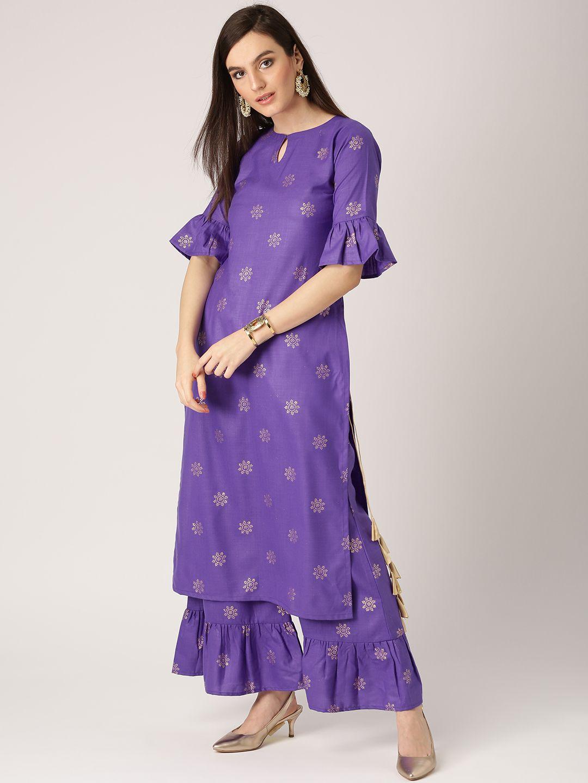 794034e2c Buy Libas Women Purple Printed Kurta With Palazzos - Kurta Sets for Women  2388990