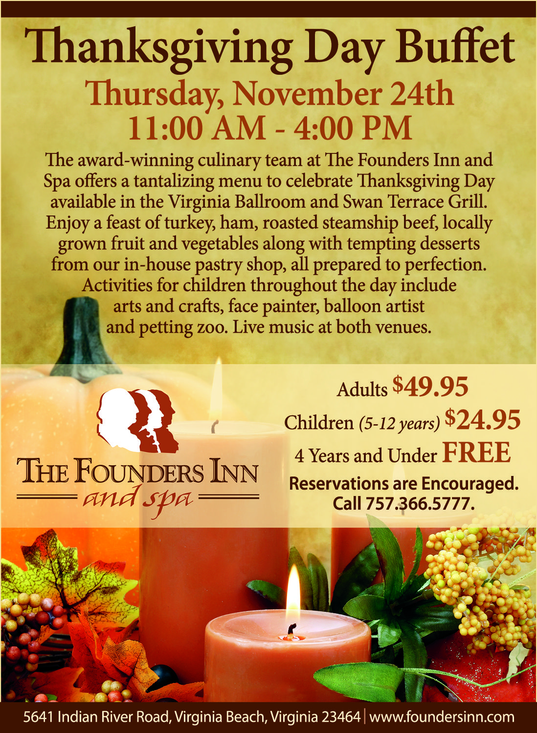 Thanksgiving Day Buffet At The Founders Inn And Spa