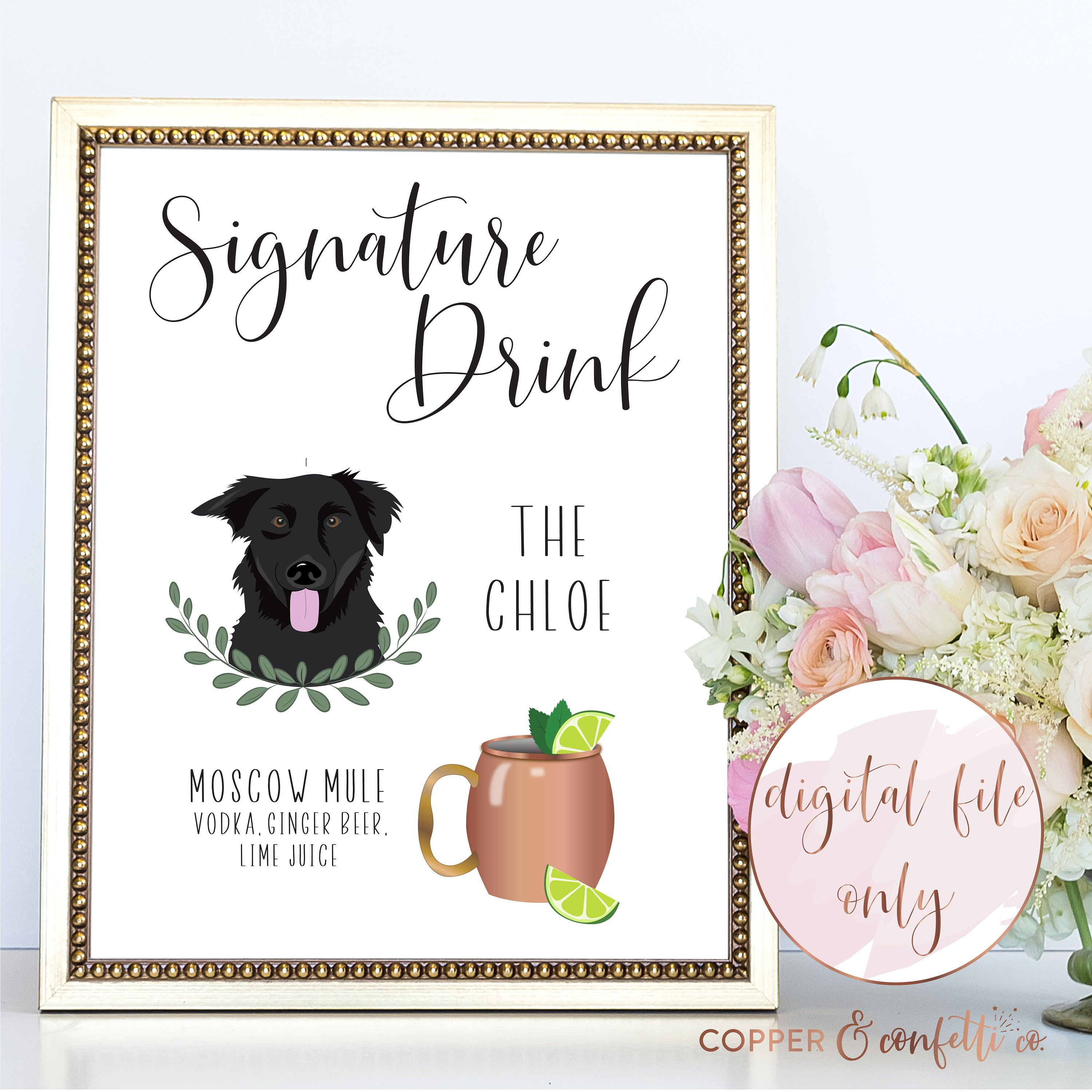 Custom dog and drink illustrated signature cocktail sign