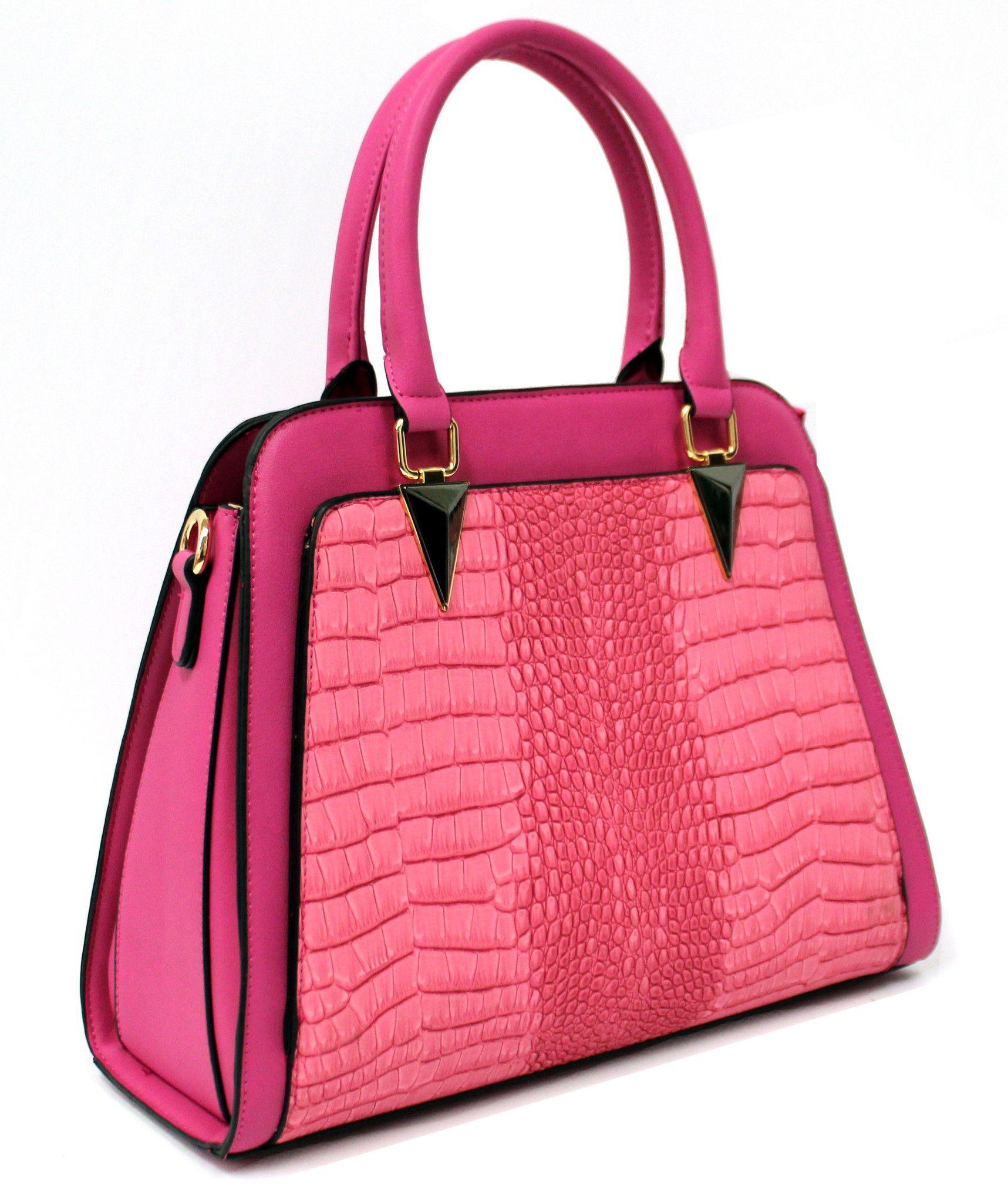 Rachel Croc Panel Handbag with Unique Hardware