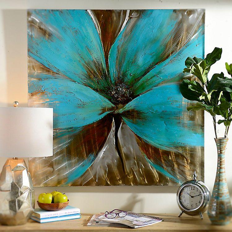 Bright Blue Flower Canvas Art Print | Flower canvas art, Flower ...