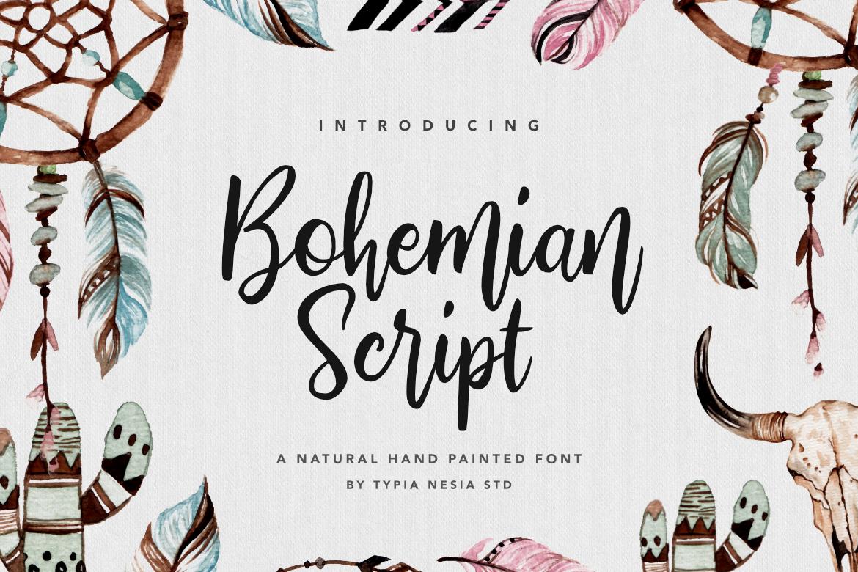 Bohemian Script Paint font, Boho fonts, Script