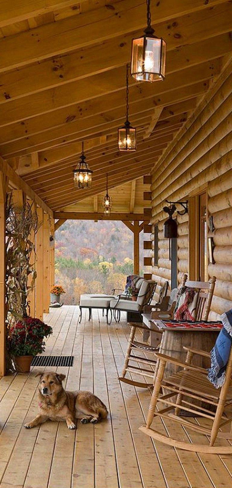 54 Marvelous Vintage Farmhouse Porch Decorating Ideas On A Budget Rustic Porch Log Home Living Log Home Designs