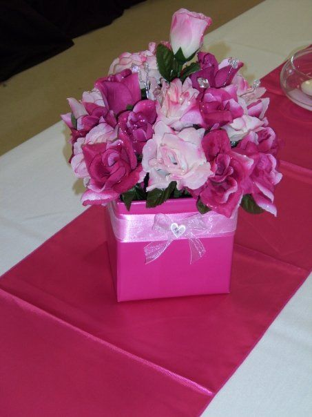 Wedding centerpiece small cardboard box wrapped with