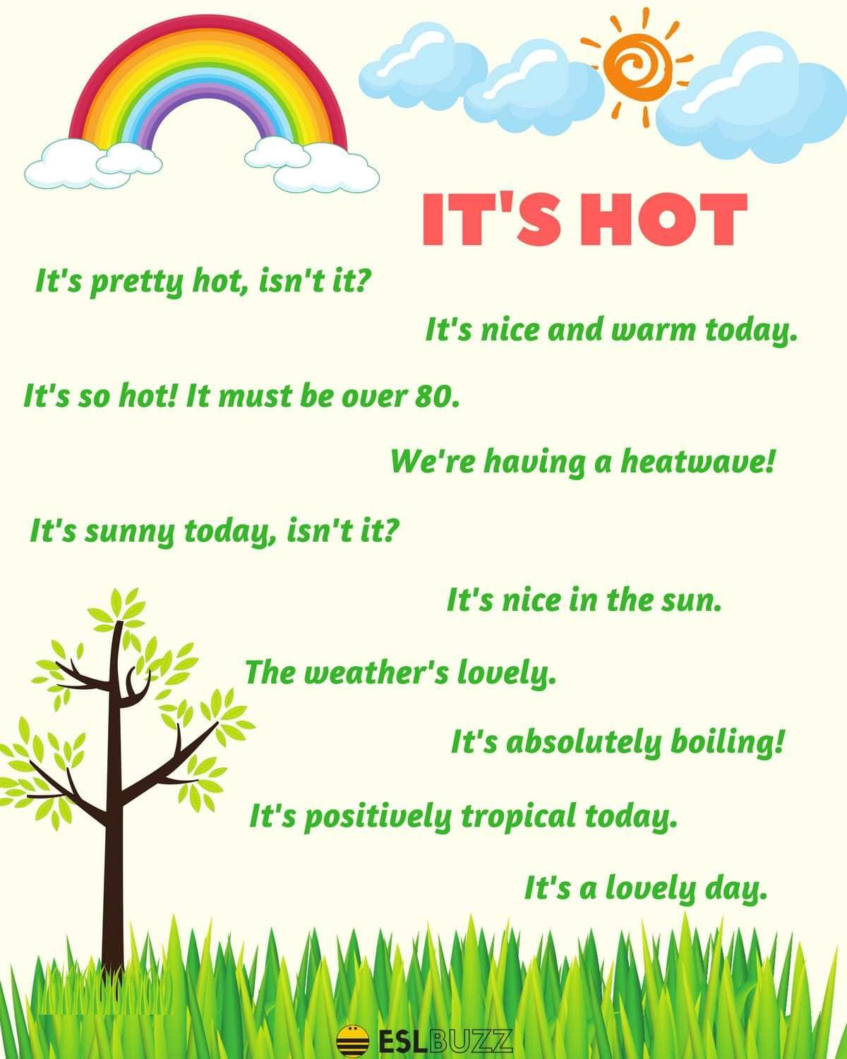 Useful Phrases Describing Cold Weather Hot Weather Rainy