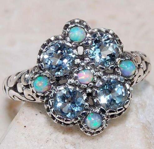 Aquamarine and Opal ring