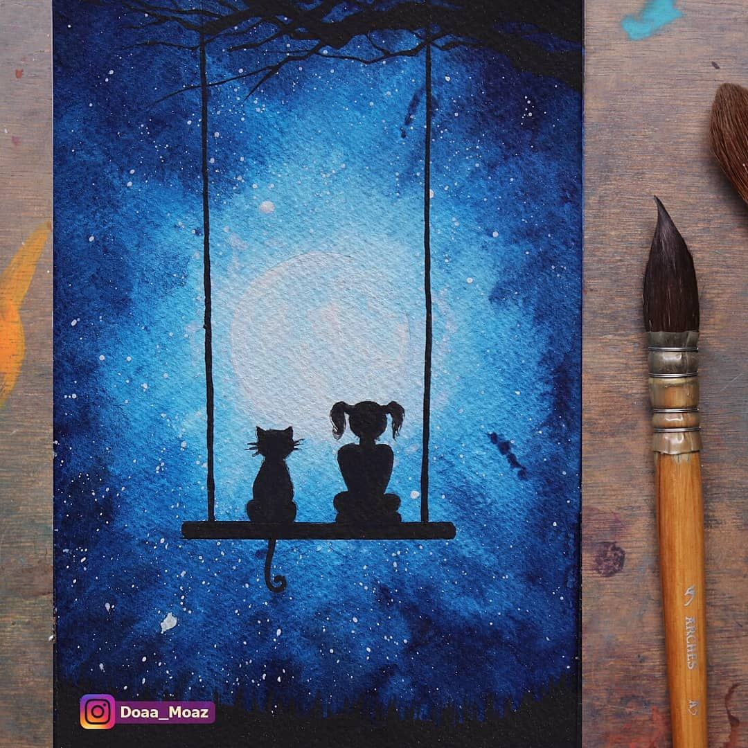 تعلم الرسم كيف ترسم منظر مجرة وفتاة وقطة على ارجوحة بالالوان المائية مجرة رسم الوان مائيه منظر Art Drawings Simple Art Ganesh Art