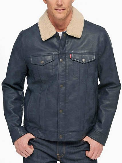 Classic Trucker Jacket With Removable Sherpa Collar Blue