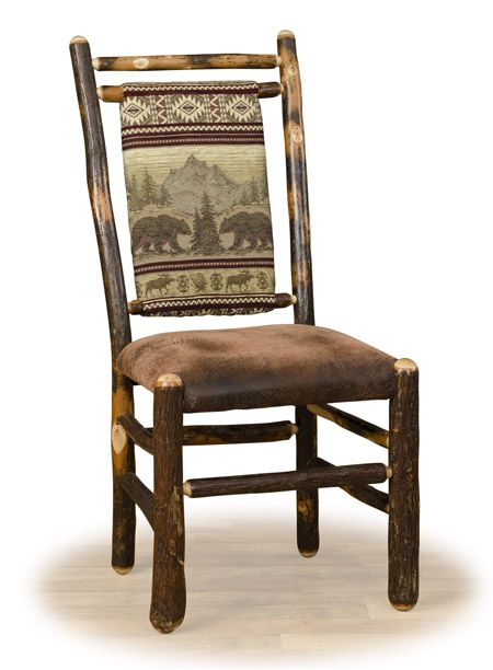 Upholstered log dining chairs rustic furniture log cabin - Rustic living room furniture sets ...