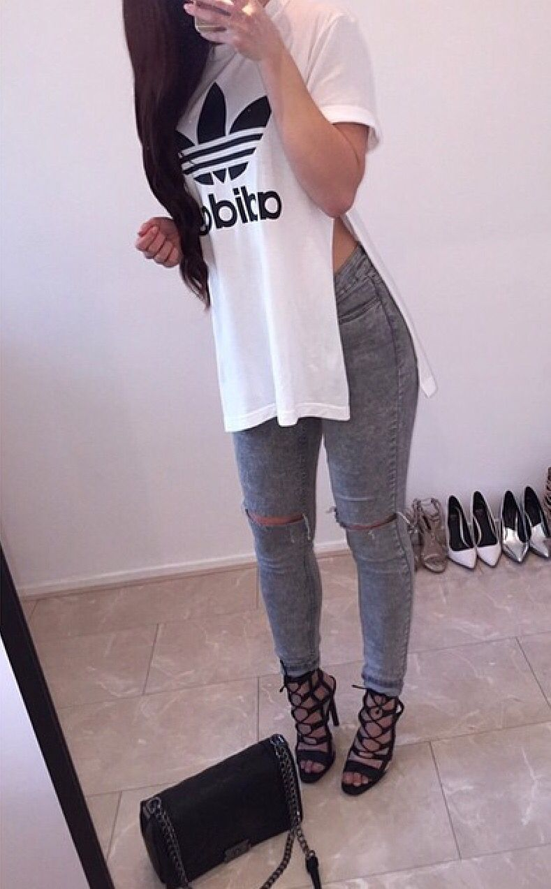There are 12 tips to buy this shirt: white top side slit adidas t- white t-  oversized t- shoes addidas top adidas white long cool cute outfit dope  casual ...