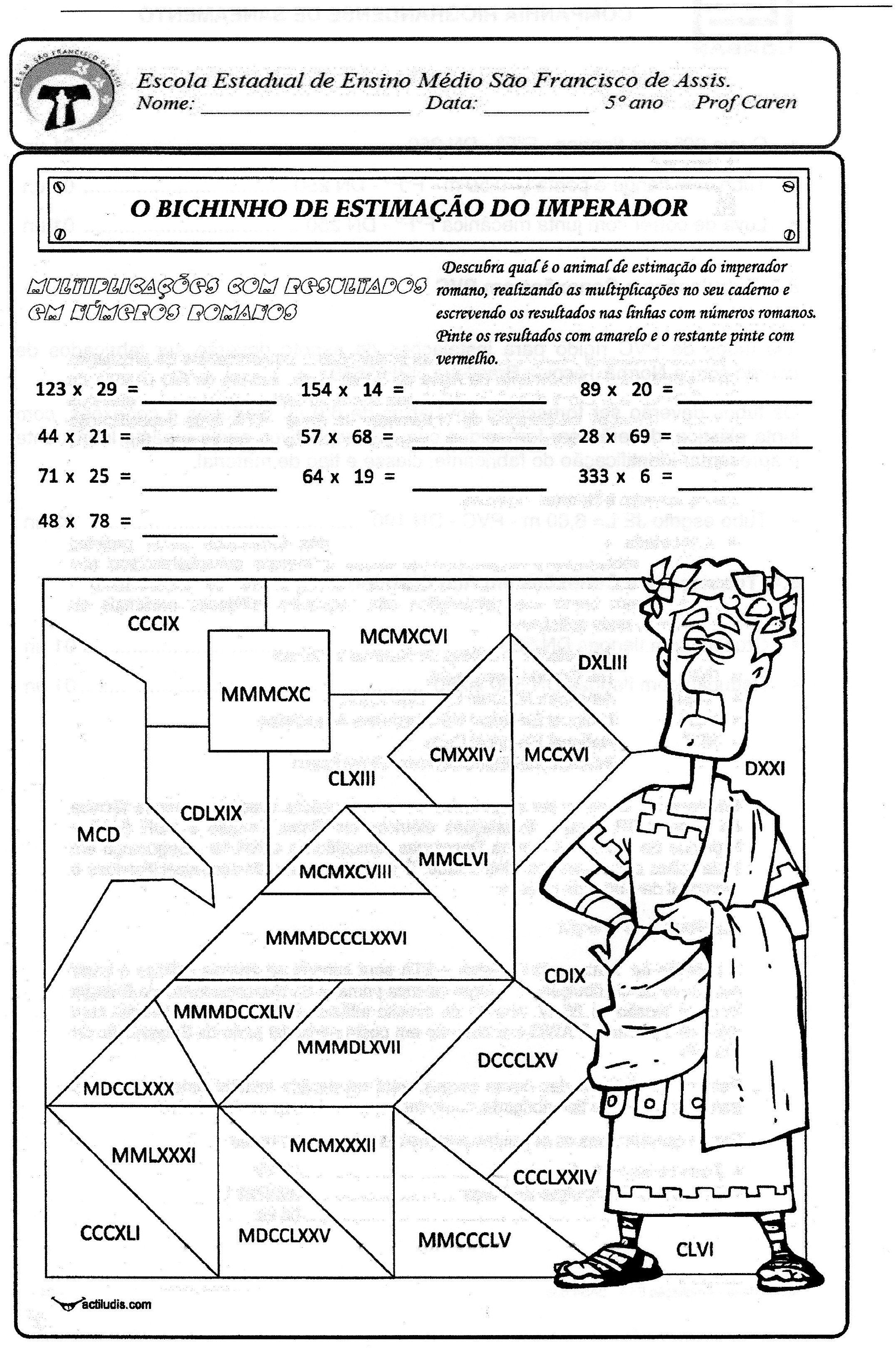Multiplicação com resultados em números romanos - actiludis ...