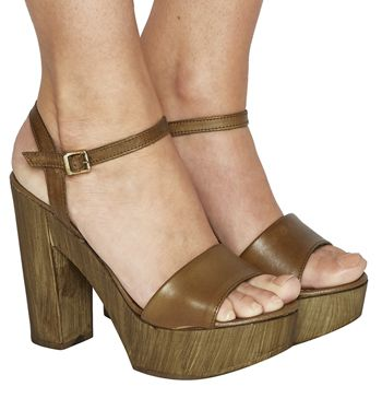 Hawaii Wood Platform Sandals | Leather high heels, Tan