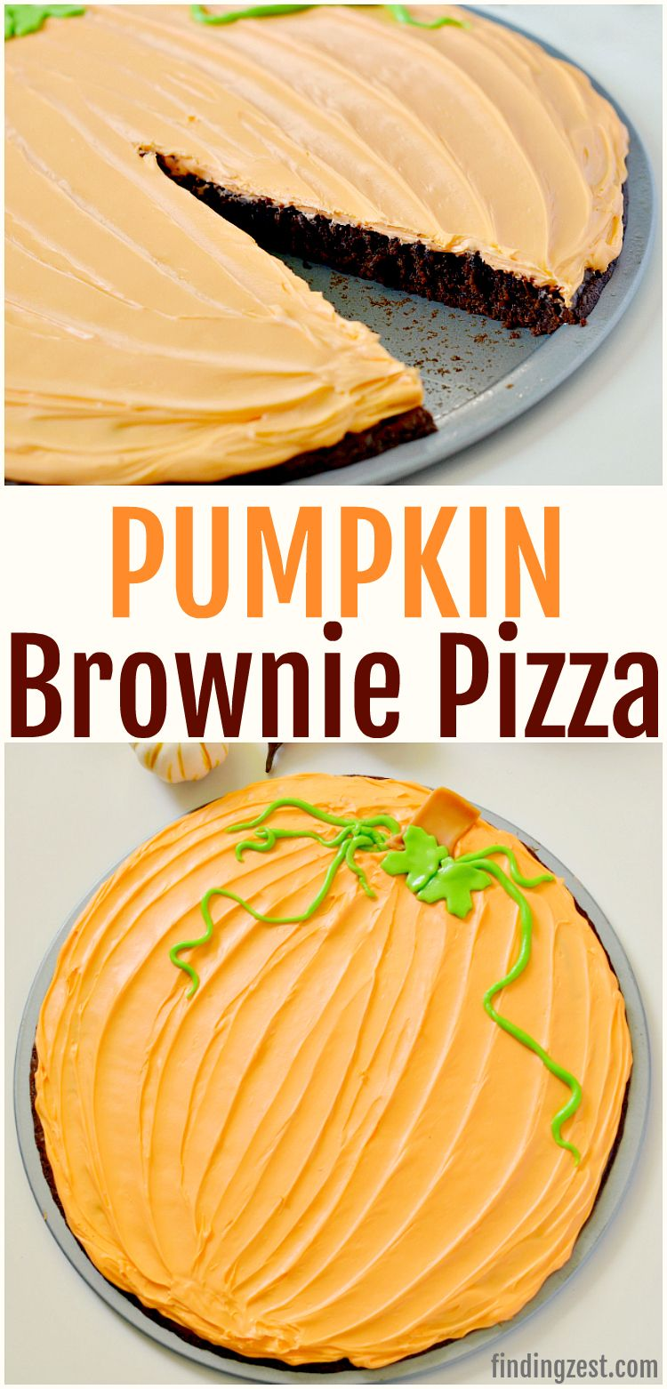 This pumpkin brownie pizza is a simple fall dessert with a wow factor that is easy and delicious! All you need is a brownie mix, a tub of frosting and some candy to turn this brownie into a pumpkin! This pumpkin shaped treat is kid friendly and perfect for a Halloween or Thanksgiving dessert table! #Thanksgiving #pumpkin #Halloween #thanksgivingdessert #thanksgivingrecipes #halloweendessert #thanksgivingdesserts