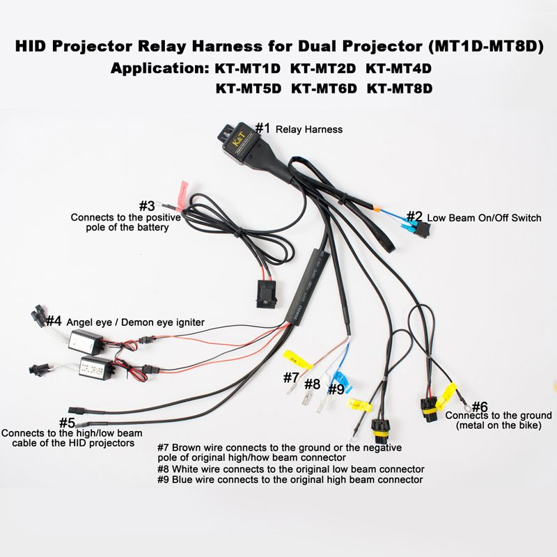 Hid kit wiring harness motorcycle bi xenon relay