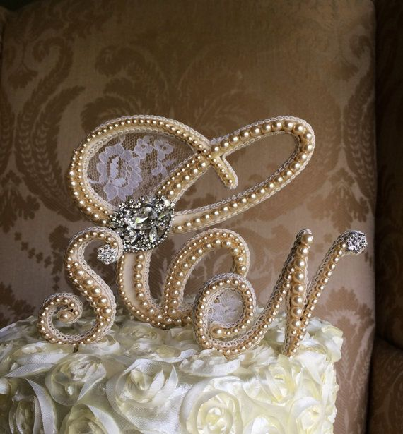 Custom Triple Monogram Cake Topper Wedding By TheCrystalFlower 15000