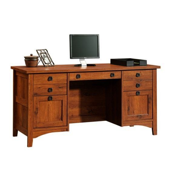 Mission craftsman style computer credenza desk furniture for Craftsman style desk plans